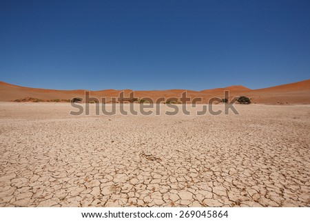 Sossusvlei salt pan with red dunes in background, Namibia - stock photo