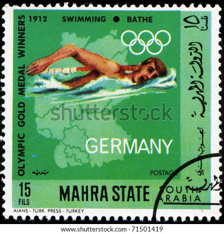 SOUDI ARABIA - CIRCA 1968: A stamp printed in Mahra State of Saudi Arabia shows swimmer, circa 1968 - stock photo
