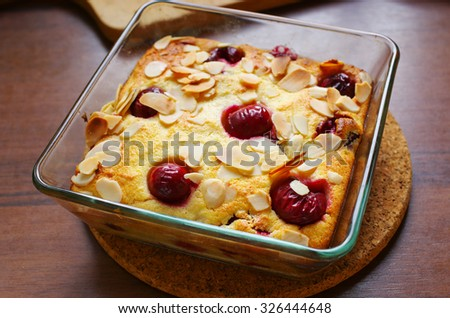 Souffle with red sour cherries - stock photo