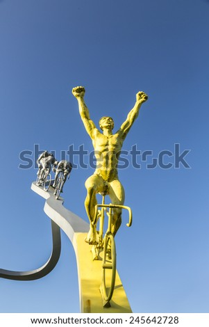 SOUMOULOU,FRANCE-JUL 23:Detail of the sculpture Tour de France in Pyrenees by Jean-Bernard Metais on 23 July 2014. The monument represents the ascensions of the road to Col du Tourmalet. - stock photo