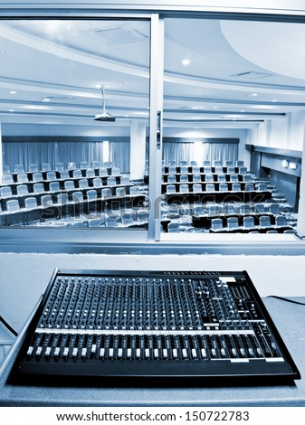sound board and microphones in the conference hall