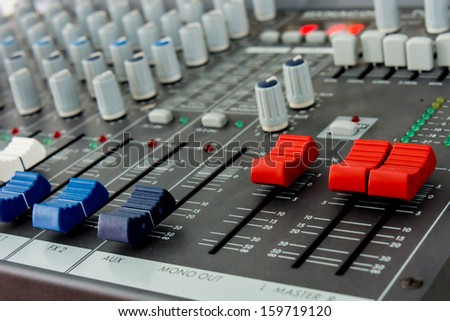 sound board in a studio