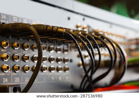 Sound connectors included in the audio mixer. - stock photo