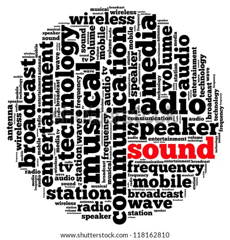 Sound info-text graphics and arrangement concept on white background (word cloud)