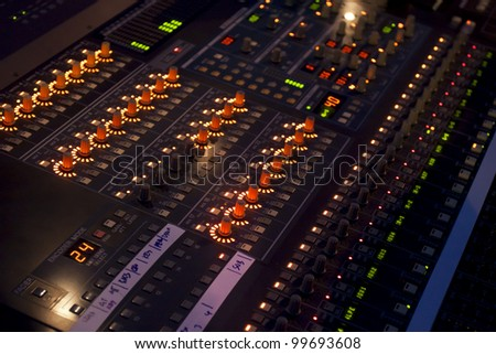Sound mixer in concert - stock photo