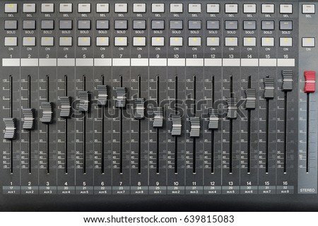 Sound mixer panel with feyder and buttons of control the top view background