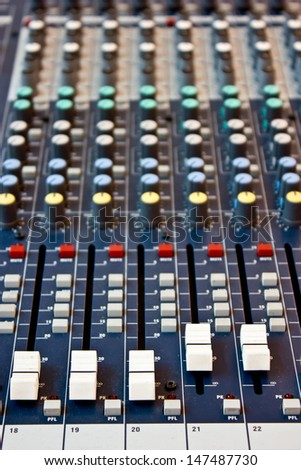 Sound mixer recording studio.