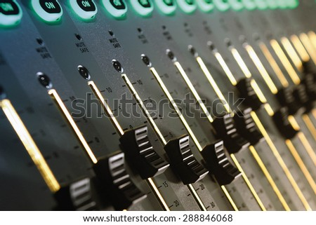 Sound Mixer with Buttons and Sliders - stock photo