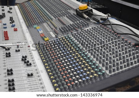 Sound mixing board - stock photo