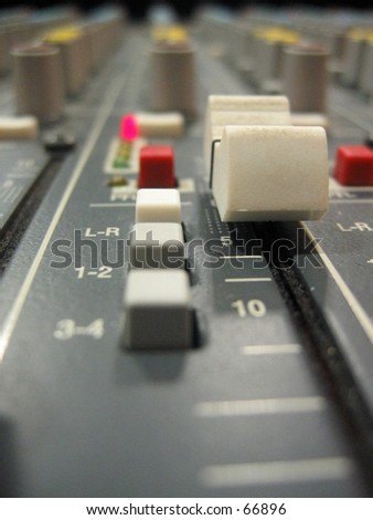 Sound mixing equipment macro shootage. - stock photo