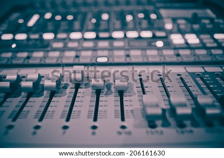 sound music mixer control panel - stock photo