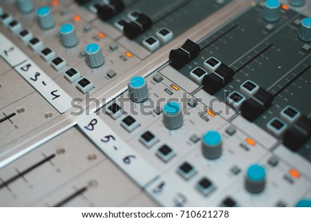 Sound recording studio, mixing desk
