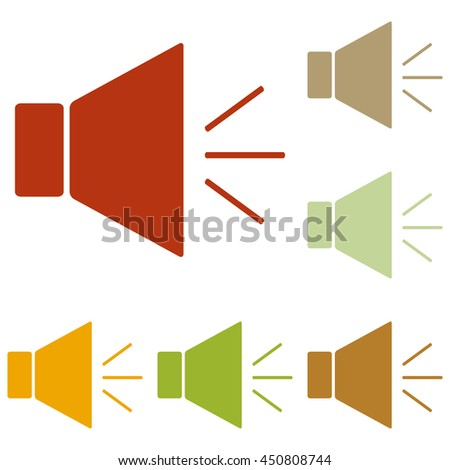 Sound sign illustration with mute mark. Colorful autumn set of icons. - stock photo