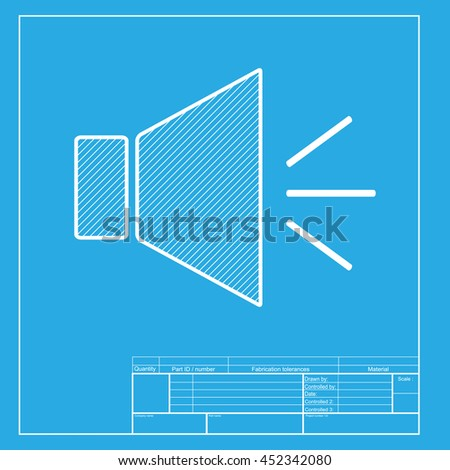 Sound sign illustration with mute mark. White section of icon on blueprint template. - stock photo
