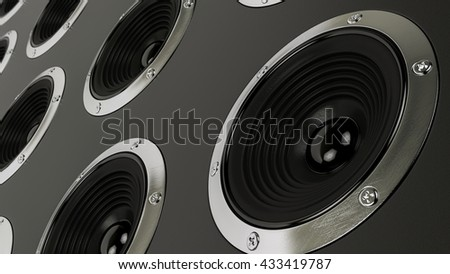sound speakers stereo system 3d illustration