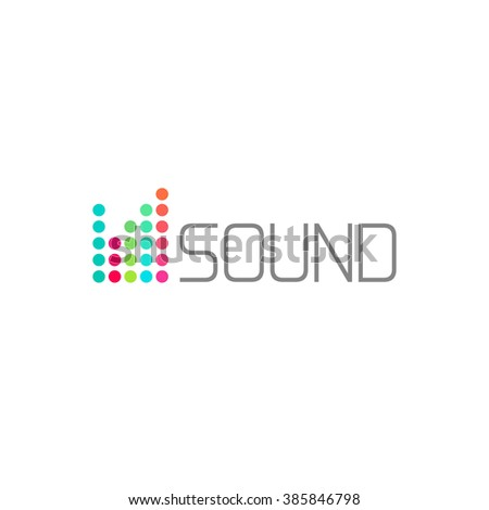 Sound studio logo concept, musical service emblem, equalizer, music, audio system logotype, sound waves label modern simple elegant design isolated on white background image - stock photo