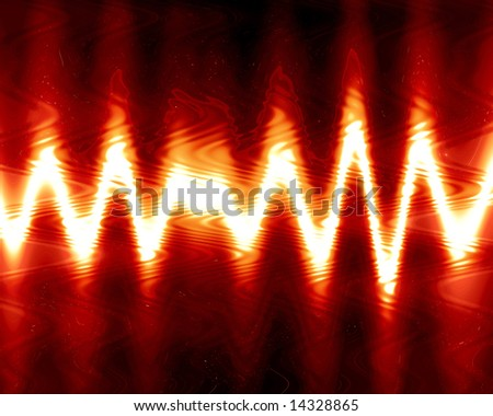 sound wave on a bright red background