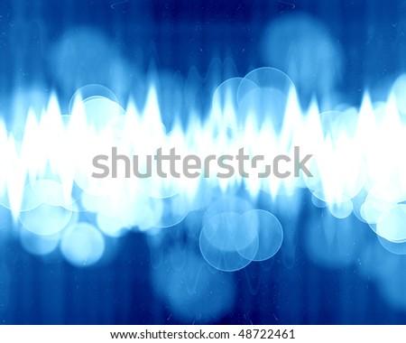 sound wave on a soft blue background - stock photo