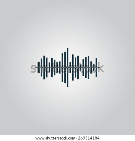 Sound waveequalizer music. Flat web icon, sign or button isolated on grey background. Collection modern trend concept design style illustration symbol - stock photo