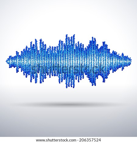 Sound waveform made of chaotic blue balls - stock photo