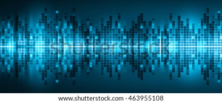 Sound waves oscillating dark blue light, Wave Abstract technology background. audio waves.