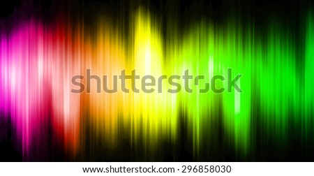 Sound waves oscillating magic glow pink yellow green light, modern Abstract pattern technology background. motion move blur. ray. beam. aura. dark
