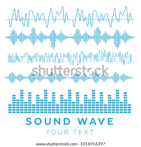 Sound waves . Sound waves sign and symbol in flat style