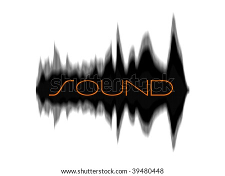 Soundwaves represented graphically. isolated on white - stock photo