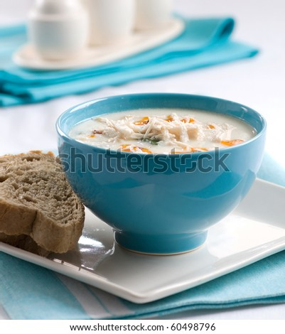 soup and bread - stock photo