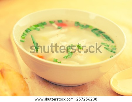 Soup chicken meat pasta - stock photo
