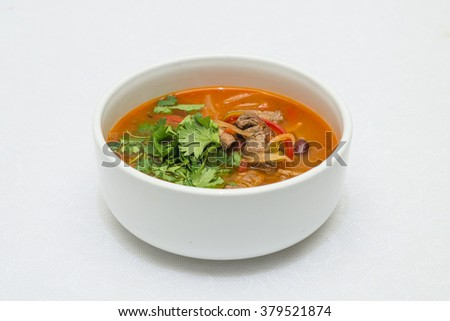 soup in a white cup - stock photo