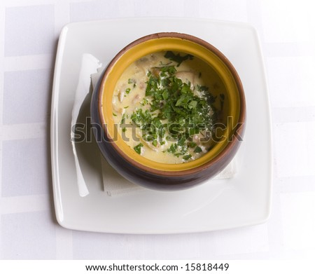 Soup in pot - stock photo