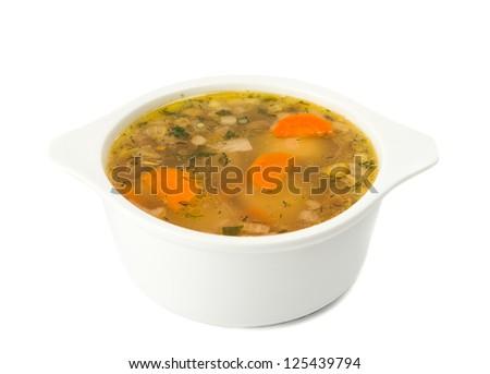soup isolated on white background - stock photo