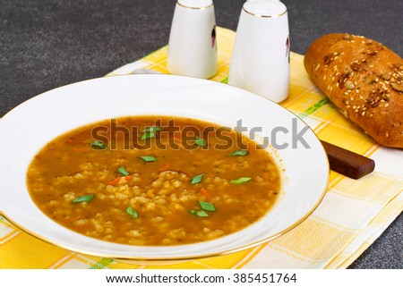 Soup Kharcho with Rice and Vegetables, Curry, Chili Studio Photo