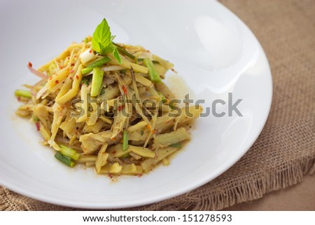 Soup Nor Mai (Bamboo Shoot Salad Northeastern of Thailand style)