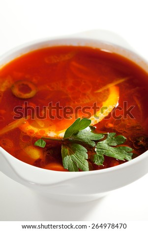Soup - Solyanka. Dish of Stewed Cabbage and Meat with Spices and Lemon - stock photo