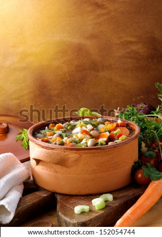 Soup vegetables with ingredients - stock photo