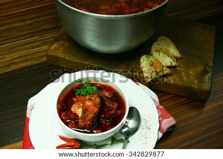 soup with beetroot and pork.