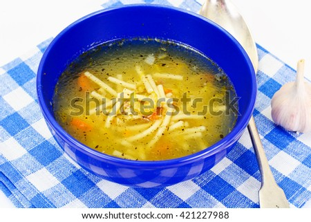 Soup with Chicken Broth with Noodles and Vegetables - stock photo