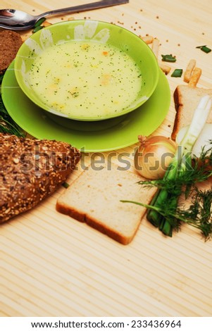 soup with dill and bread