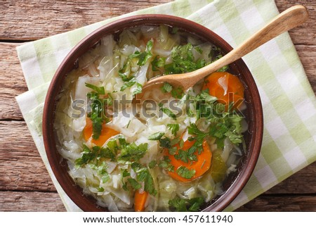 Soup with fresh cabbage close up in a bowl on the table. horizontal view from above
