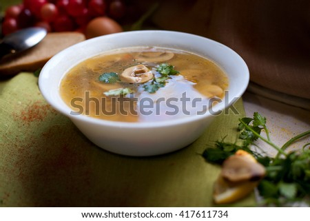 Soup with mushrooms - stock photo