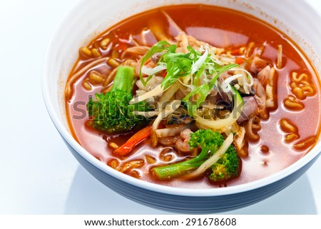Soup with noodles and vegetables . Korean cuisine. - stock photo