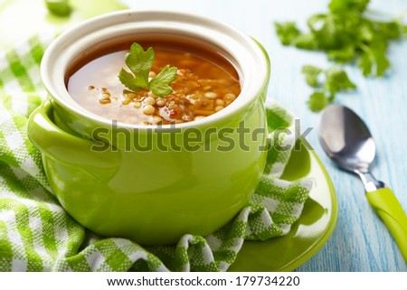 Soup with red lentil, pasta and vegetables - stock photo