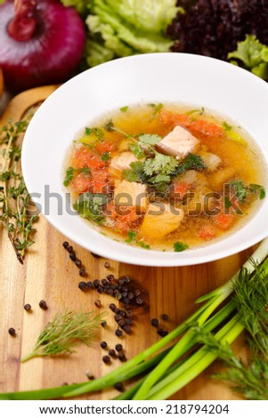 Soup with salmon - stock photo