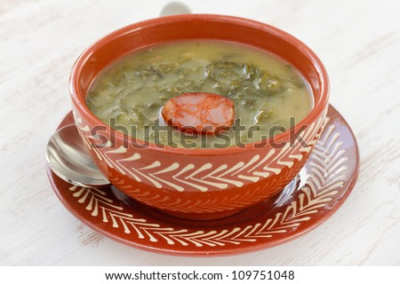 soup with sausage in the bowl - stock photo