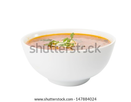 soup with sour cream isolated on white background - stock photo