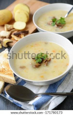 soup with wild mushrooms and potatoes