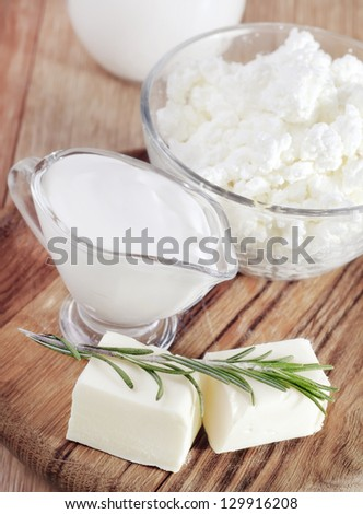 sour cream, cottage and butter - stock photo