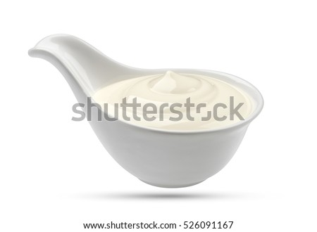 Sour cream on white background with clipping path